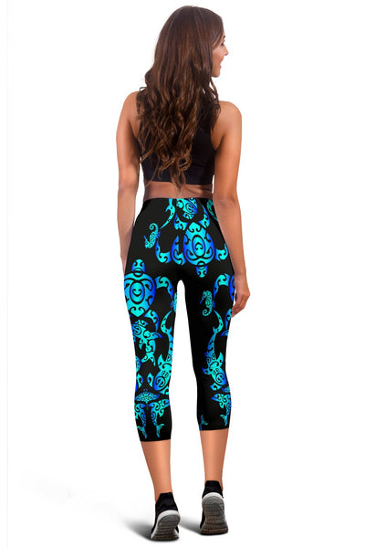 Sea Turtle Polynesian Tribal Hawaiian Women Capris