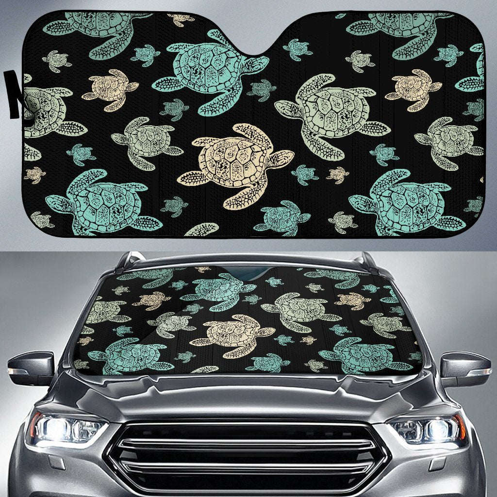 Sea Turtle Stamp Pattern Car Sun Shade-JorJune