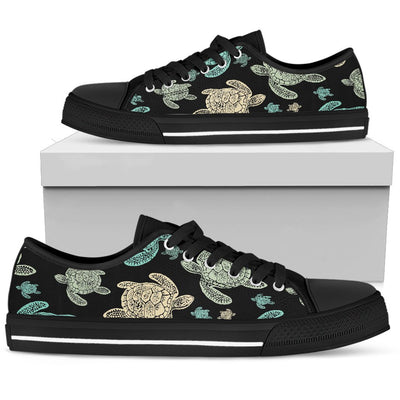 Sea Turtle Stamp Pattern Men Low Top Shoes