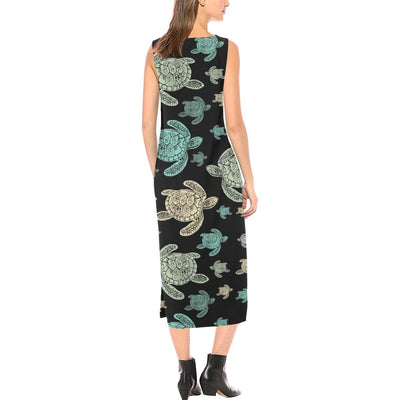 Sea Turtle Stamp Pattern Sleeveless Open Fork Long Dress