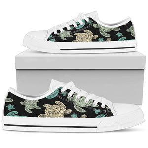 Sea Turtle Stamp Pattern Women Low Top Shoes