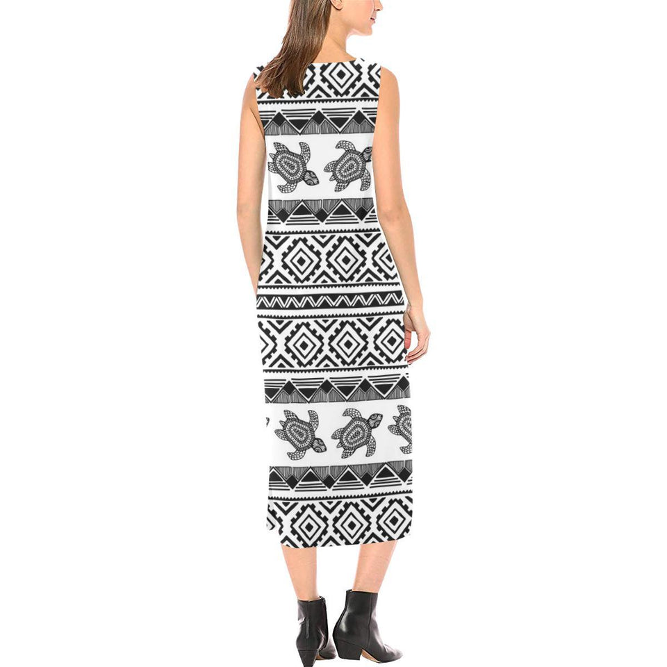 Sea Turtle Tribal Aztec Sleeveless Open Fork Long Dress