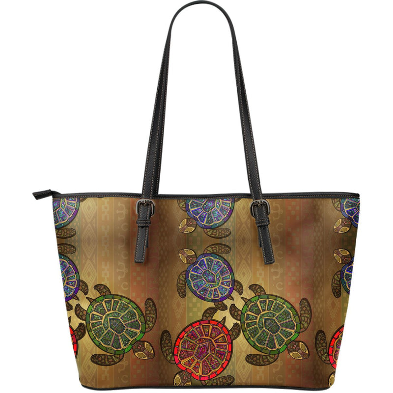 Sea Turtle Tribal Colorful Large Leather Tote Bag