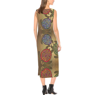 Sea Turtle Tribal Colorful Sleeveless Open Fork Long Dress