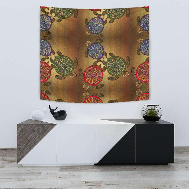 Sea Turtle Tribal Colorful Tapestry