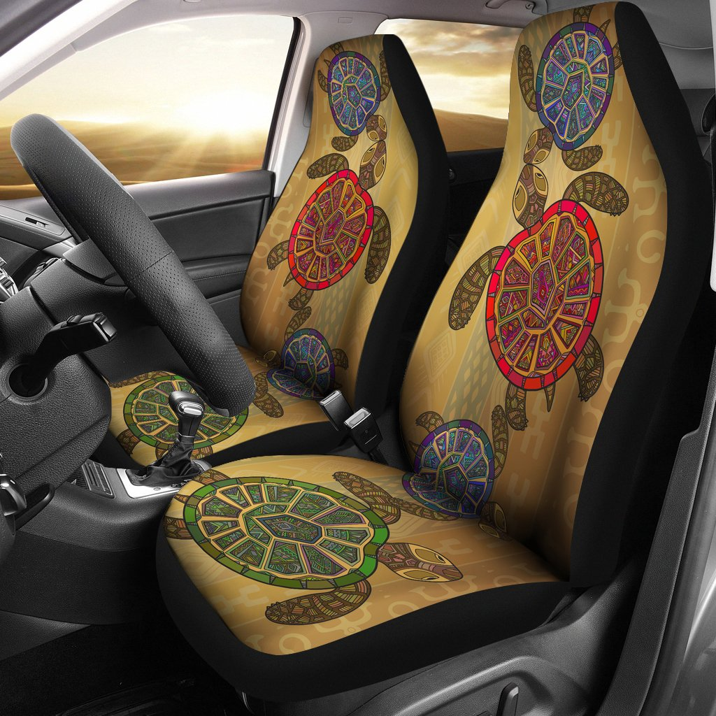 Sea Turtle Tribal Colorful Universal Fit Car Seat Covers