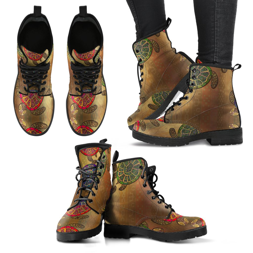 Sea Turtle Tribal Colorful Women Leather Boots
