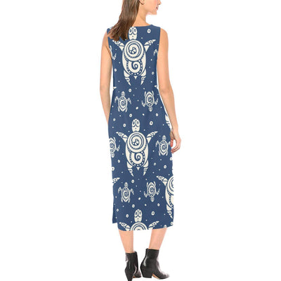 Sea Turtle Tribal Sleeveless Open Fork Long Dress