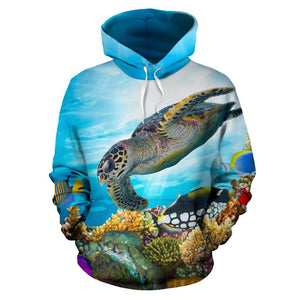 Sea Turtle with Friend Ocean All Over Print Hoodie