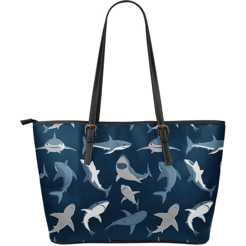 Shark Action Pattern Large Leather Tote Bag