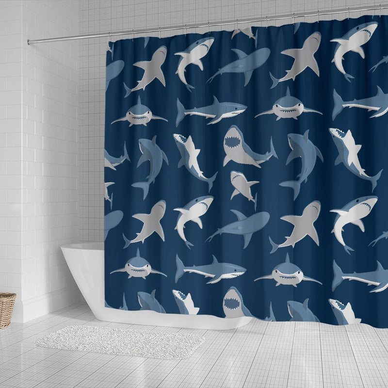 Shark Action Pattern Shower Curtain