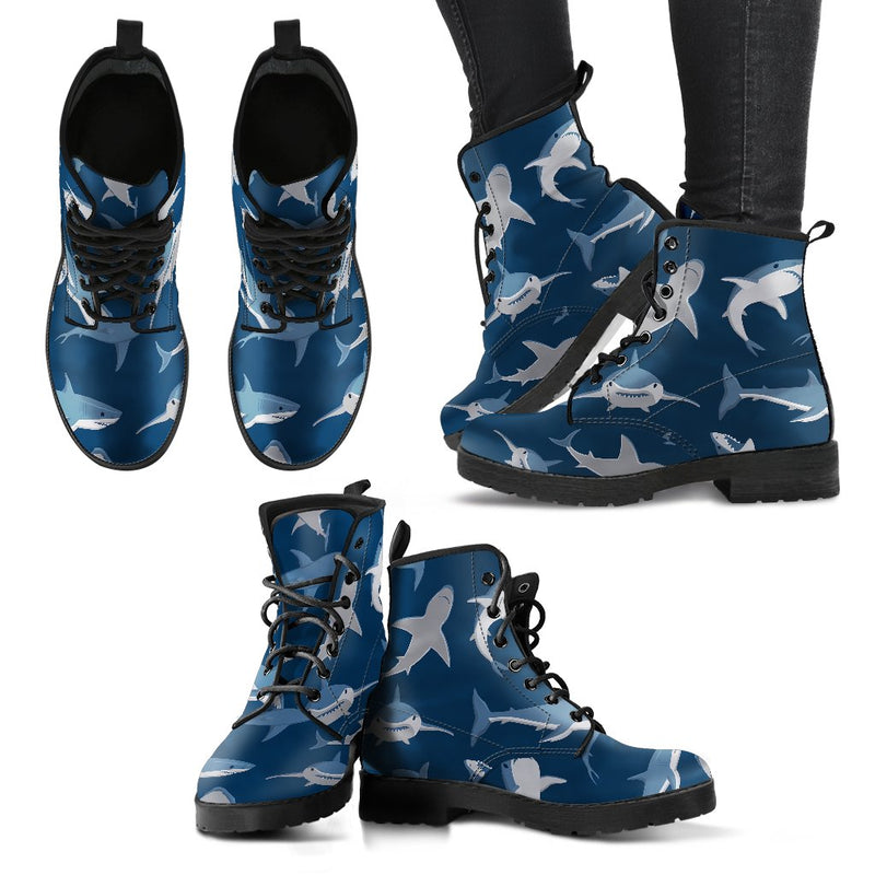 Shark Action Pattern Women Leather Boots