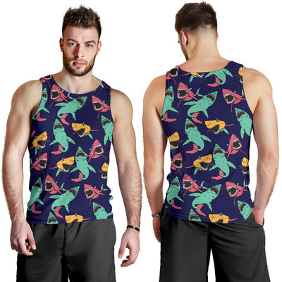 Shark Bite Pattern Men Tank Top