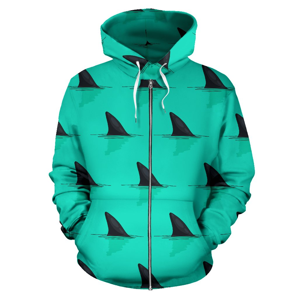 Shark Fin Pattern All Over Zip Up Hoodie