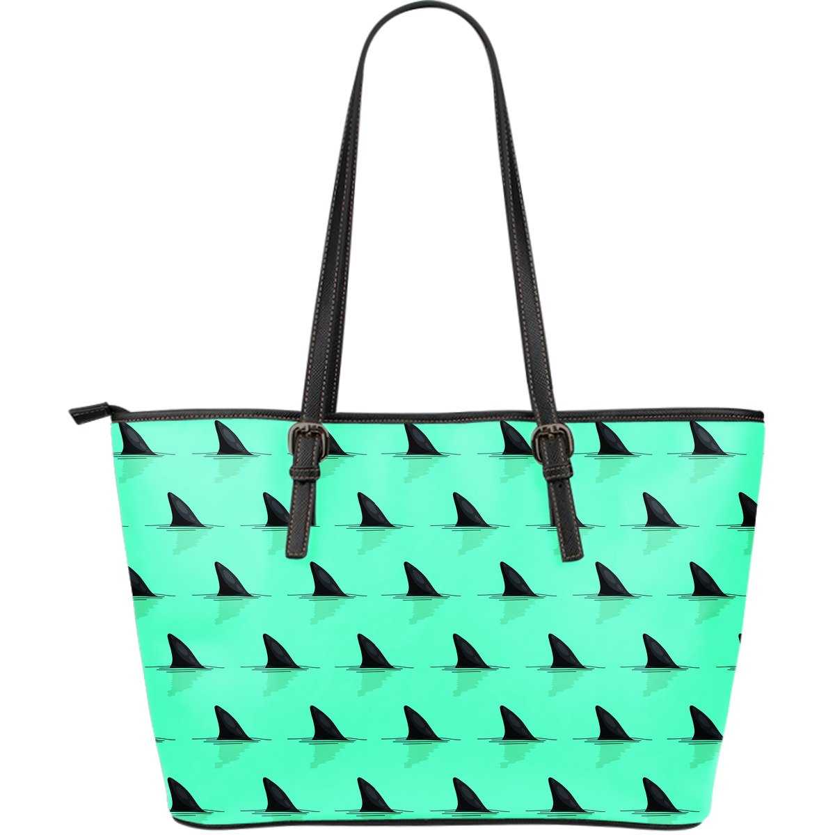 Shark Fin Pattern Large Leather Tote Bag