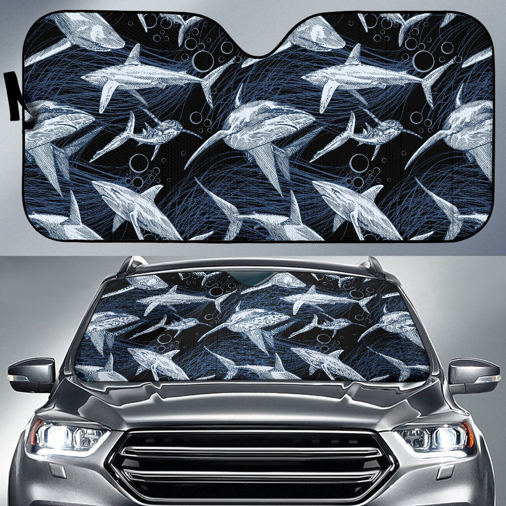 Shark Print Pattern Car Sun Shade-JorJune