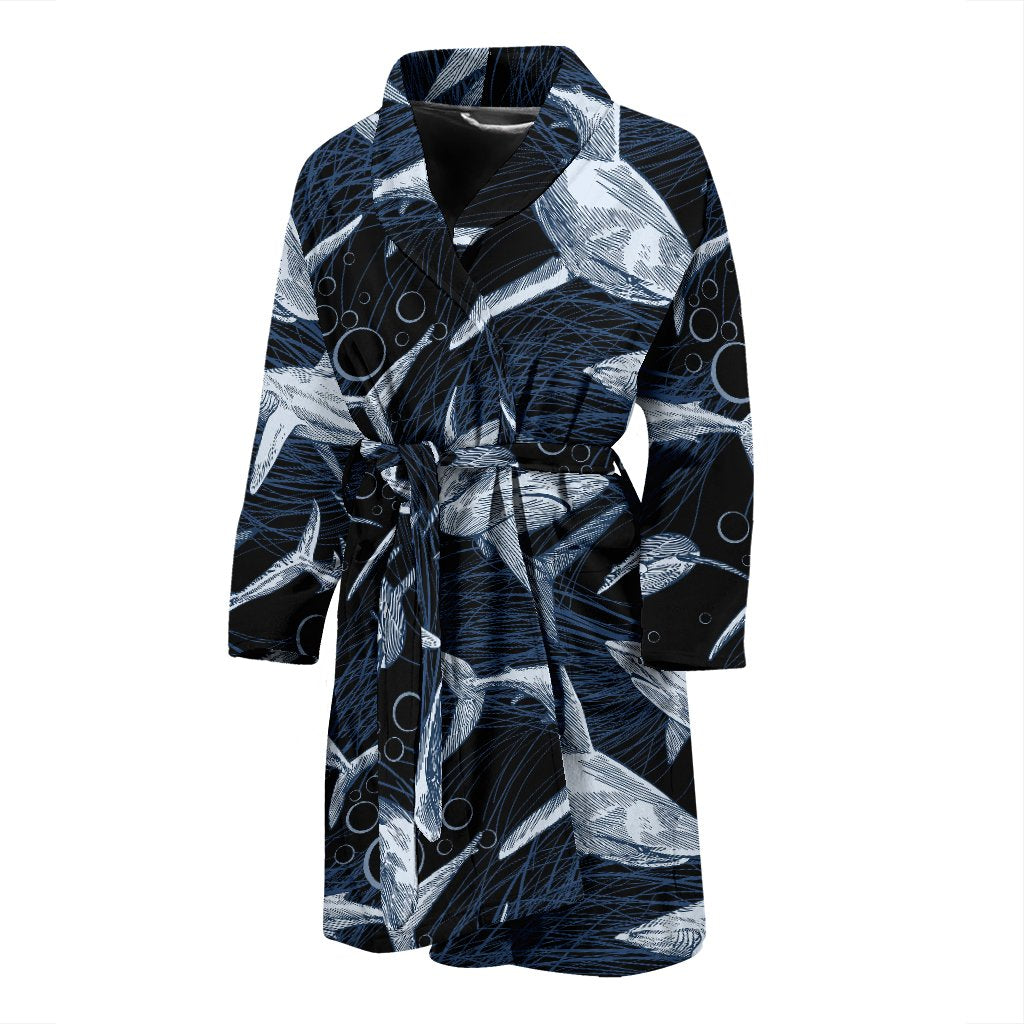 Shark Print Pattern Men Bath Robe