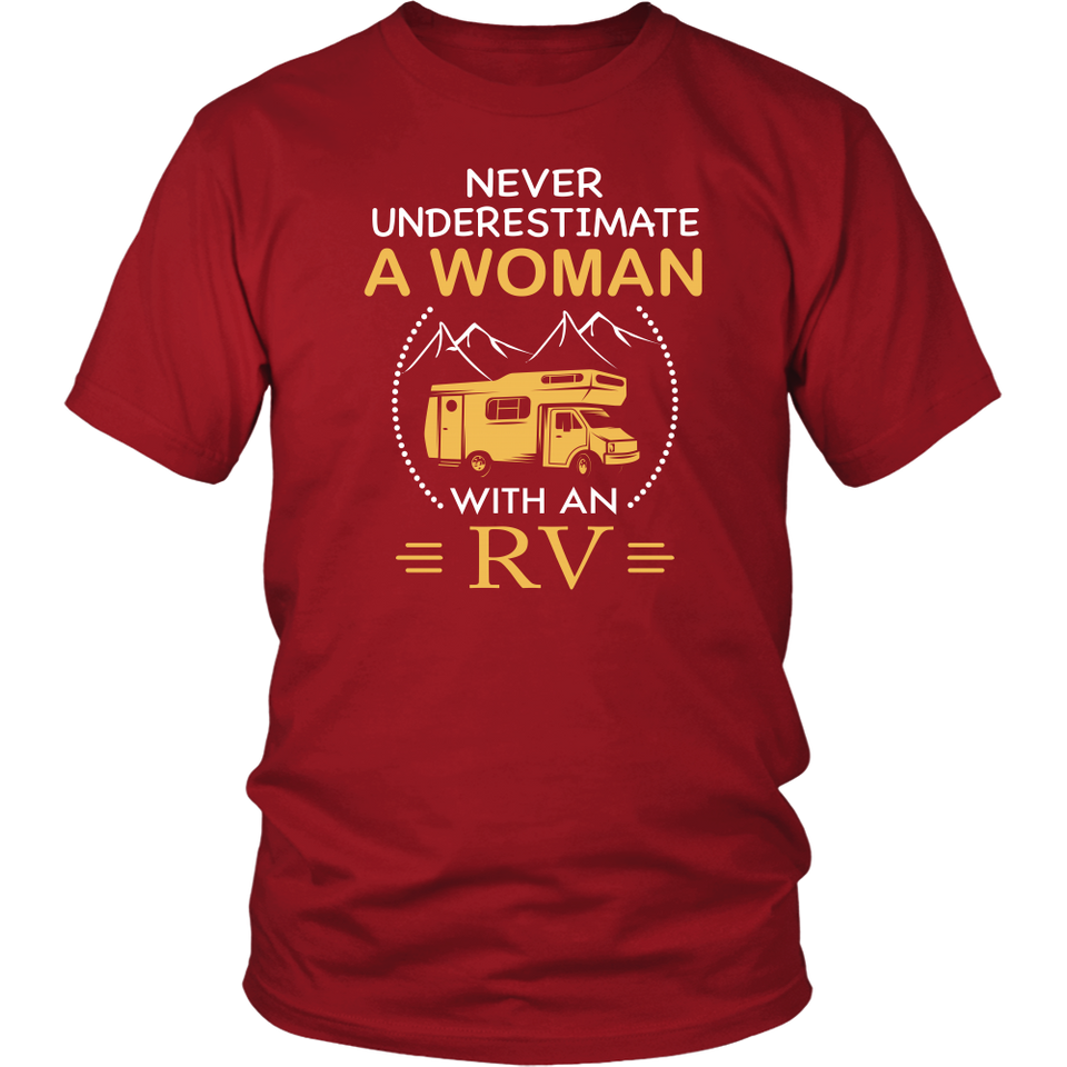 Shirt Woman with an RV camping hoodies sweatshirts Vnecks long sleeves CAMP1034
