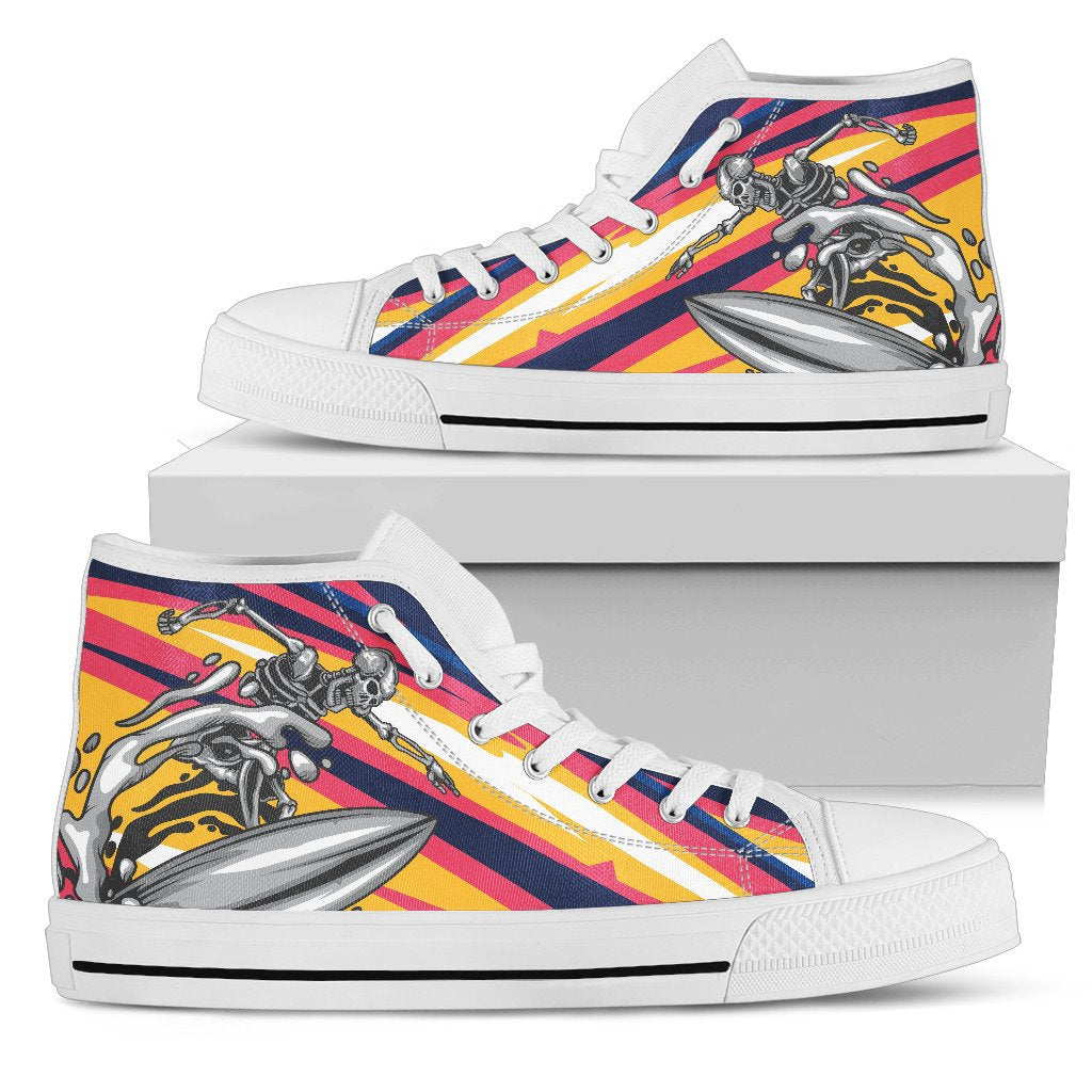 Skeleton Surfing Men High Top Canvas Shoes
