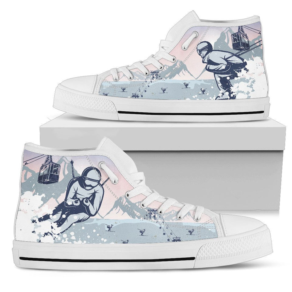 Ski Resort Women High Top Canvas Shoes