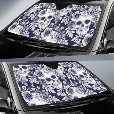 Skull Floral Beautiful Car Sun Shade-JorJune