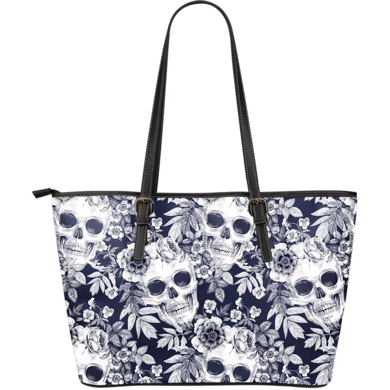 Skull Floral Beautiful Large Leather Tote Bag