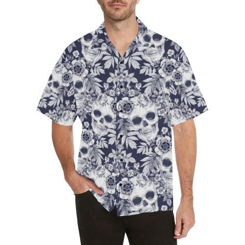 Skull Floral Beautiful Men Hawaiian Shirt