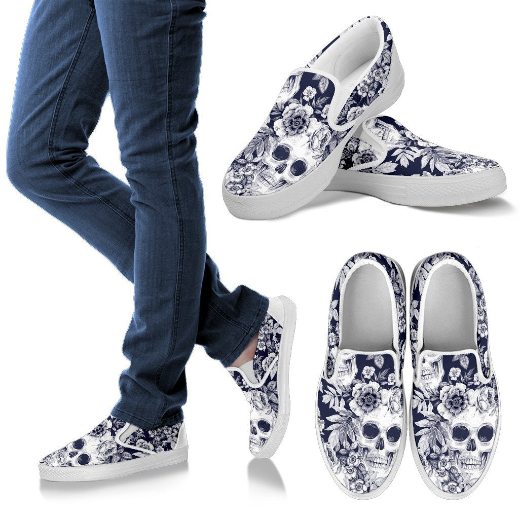Skull Floral Beautiful Men Slip On Shoes