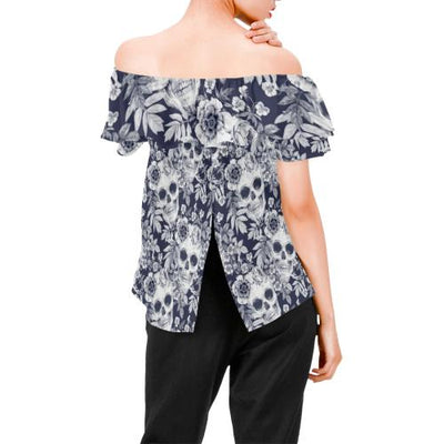 Skull Floral Beautiful Off Shoulder Ruffle Blouse