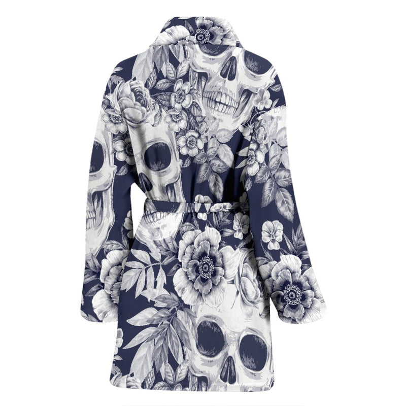 Skull Floral Beautiful Women Bath Robe