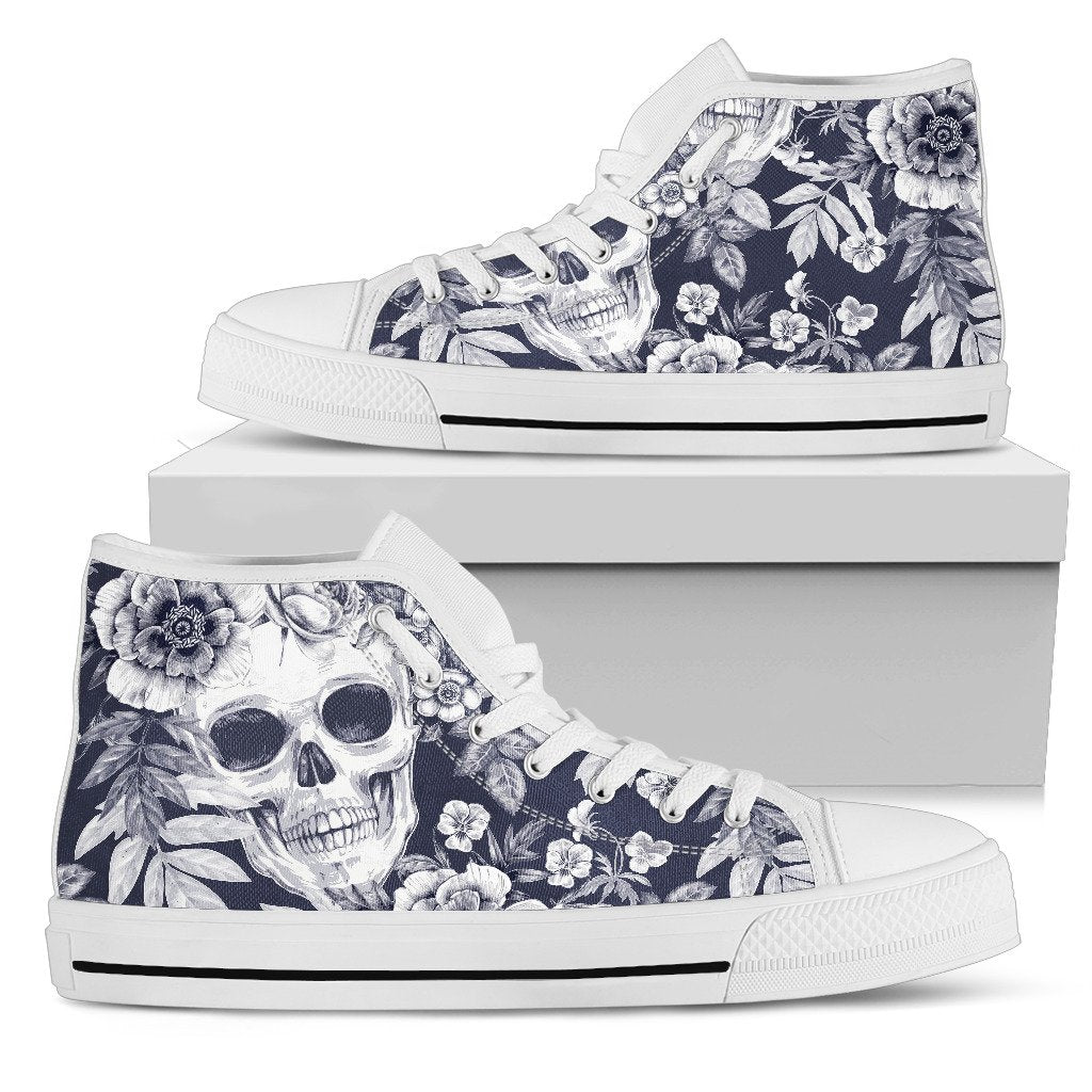 Skull Floral Beautiful Women High Top Shoes