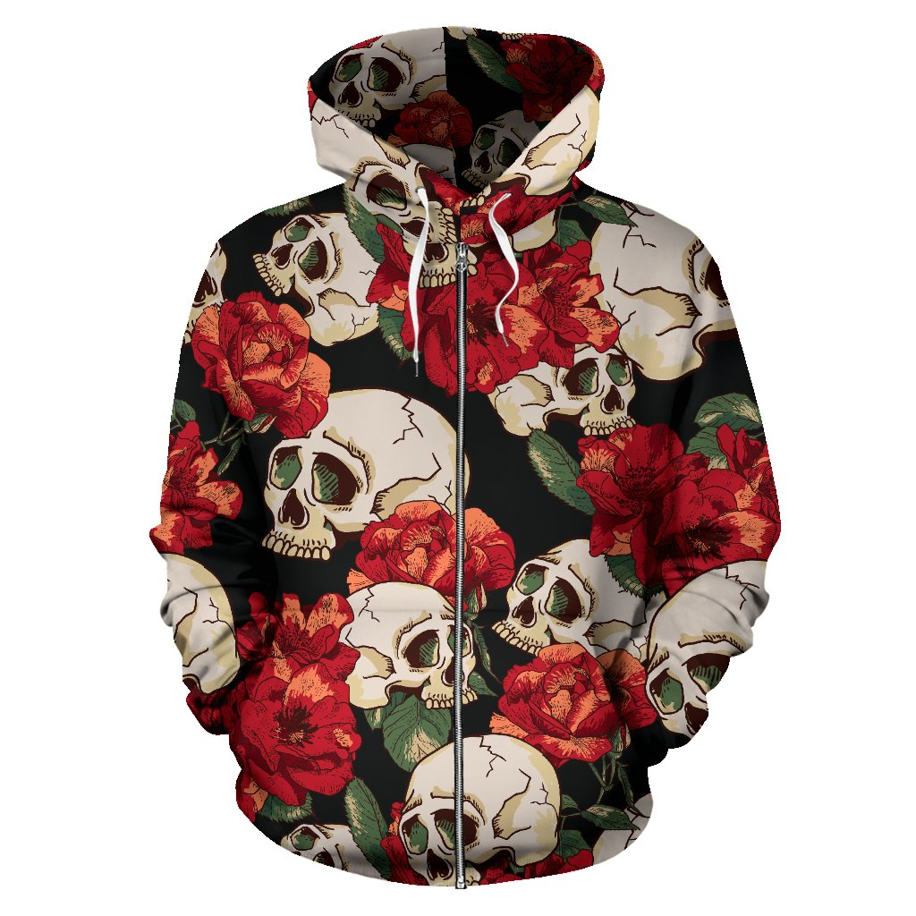 Skull Red Rose All Over Zip Up Hoodie