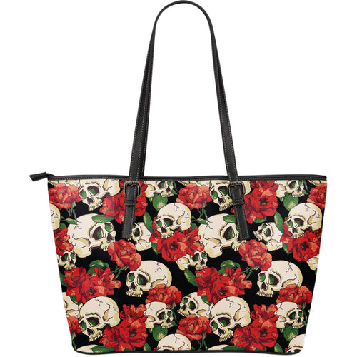 Skull Red Rose Large Leather Tote Bag