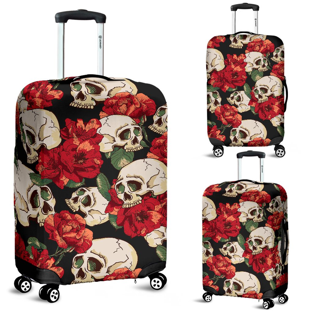 Skull Red Rose Luggage Cover Protector