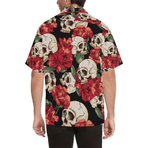Skull Red Rose Men Hawaiian Shirt