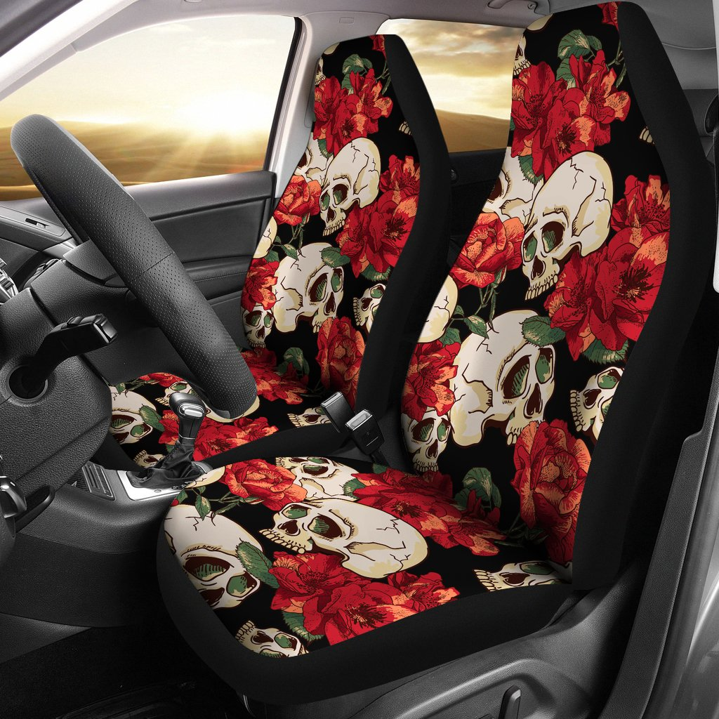 Skull Red Rose Universal Fit Car Seat Covers