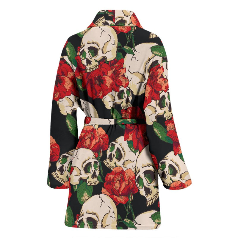 Skull Red Rose Women Bath Robe