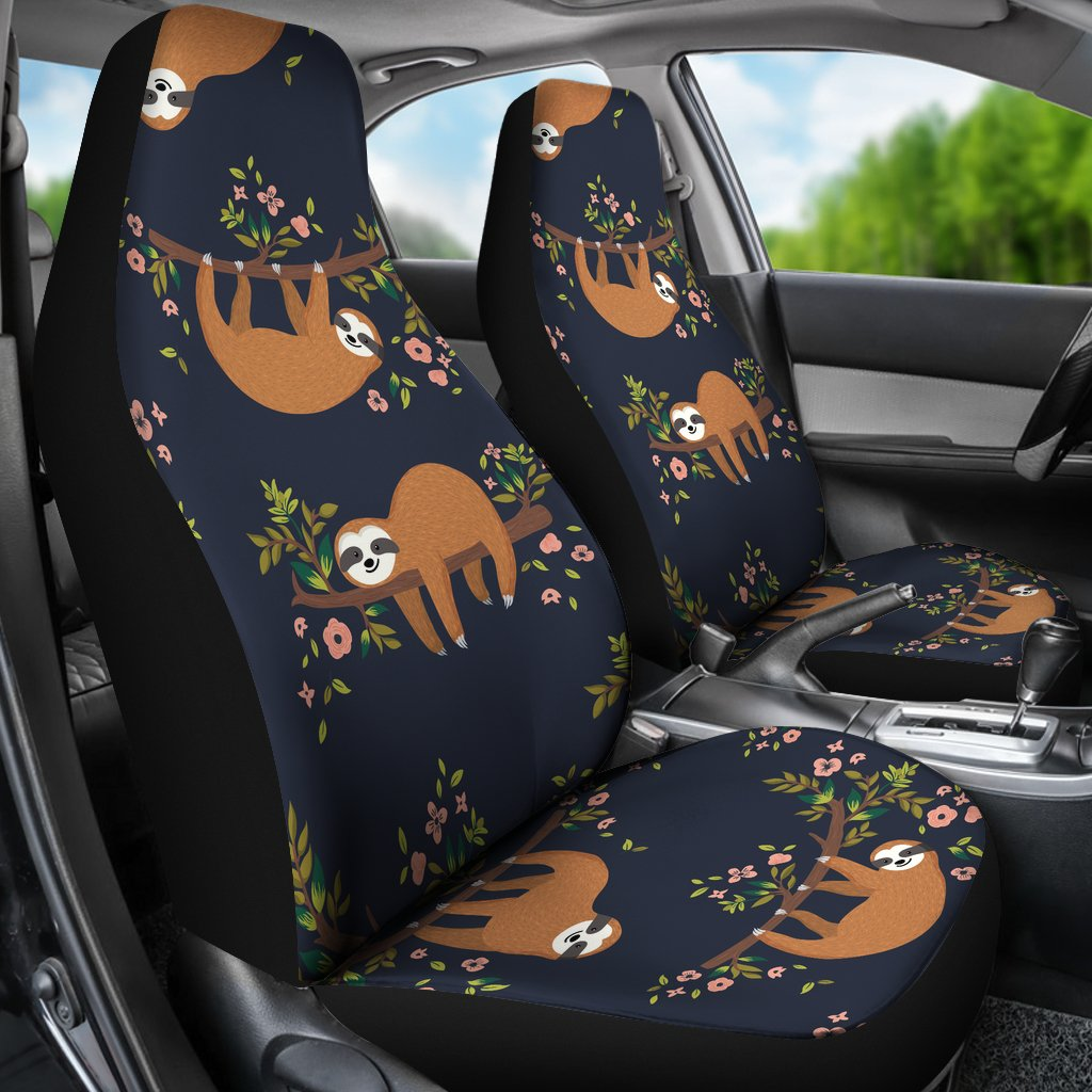 Buy Calavera Flower Themed Car Seat Covers Set Of 2: Sloth Flower Design Themed Print Universal Fit Car Seat