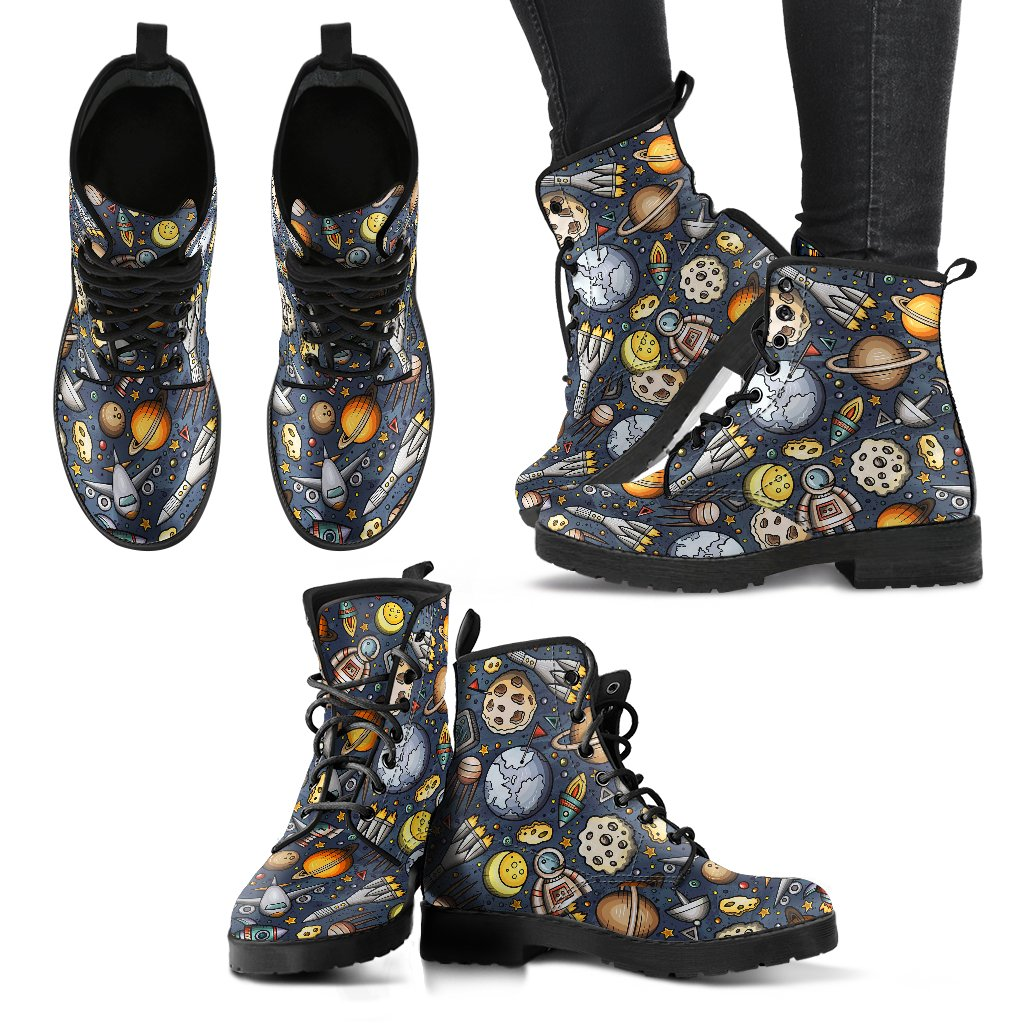 Space Pattern Print Women Leather Boots