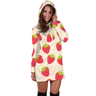 Strawberry Pattern Print Design SB02 Women Hoodie Dress
