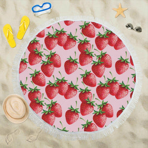 Strawberry Pattern Print Design SB03 Round Beach Towel-JorJune.com