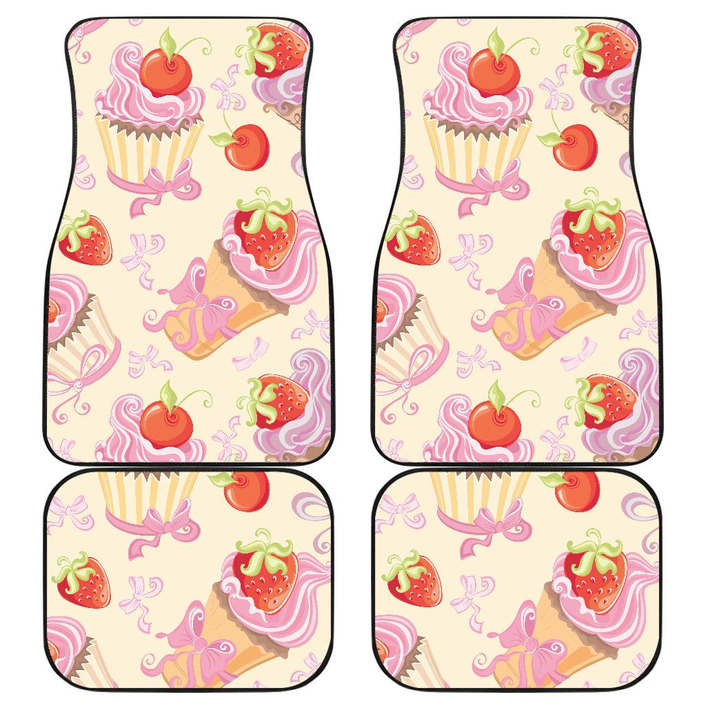 Strawberry Pink CupCake Front and Back Car Floor Mats