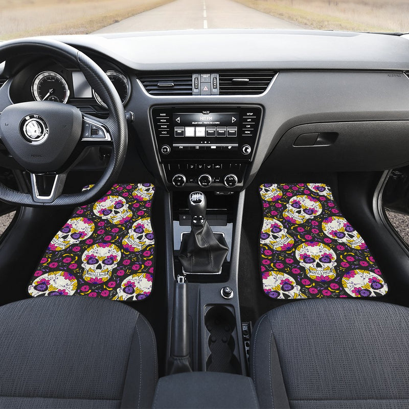 sugar skull Floral Pattern Car Floor Mats