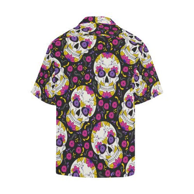 sugar skull Floral Pattern Men Hawaiian Shirt