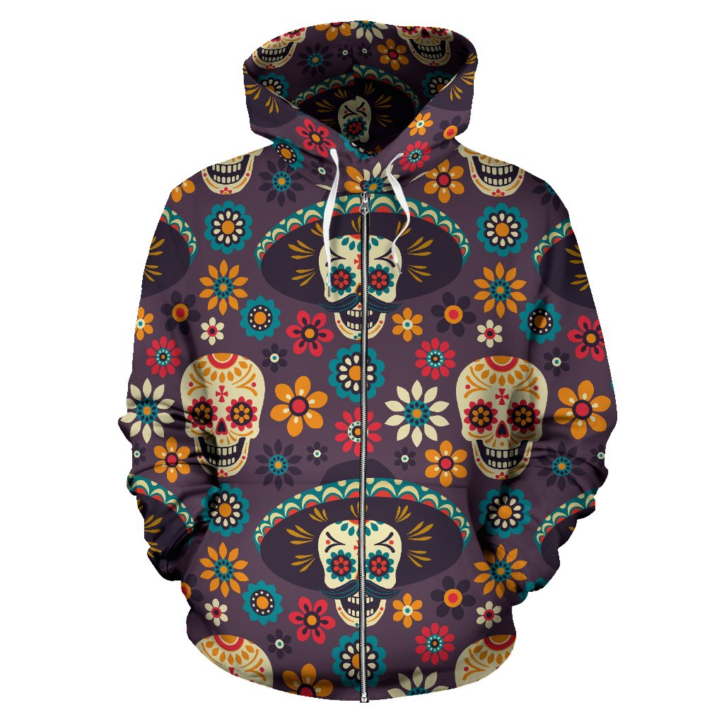 sugar skull Maxican Pattern All Over Zip Up Hoodie