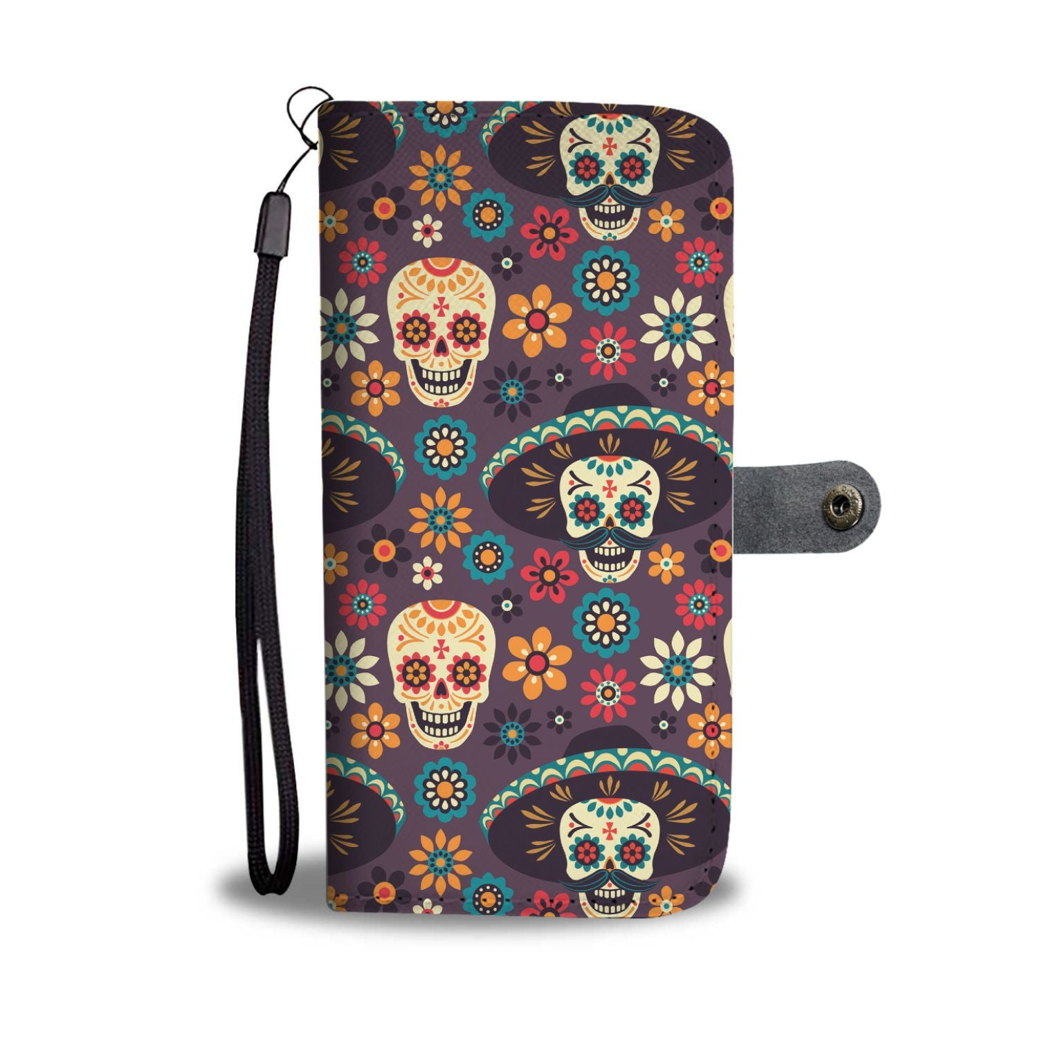 Sugar Skull Maxican Pattern Wallet Phone Case