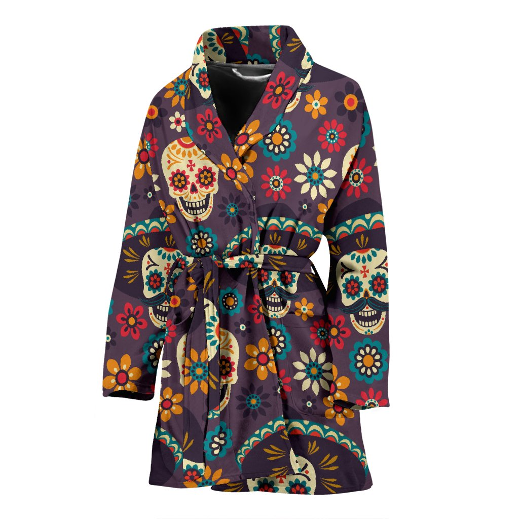 sugar skull Maxican Pattern Women Bath Robe