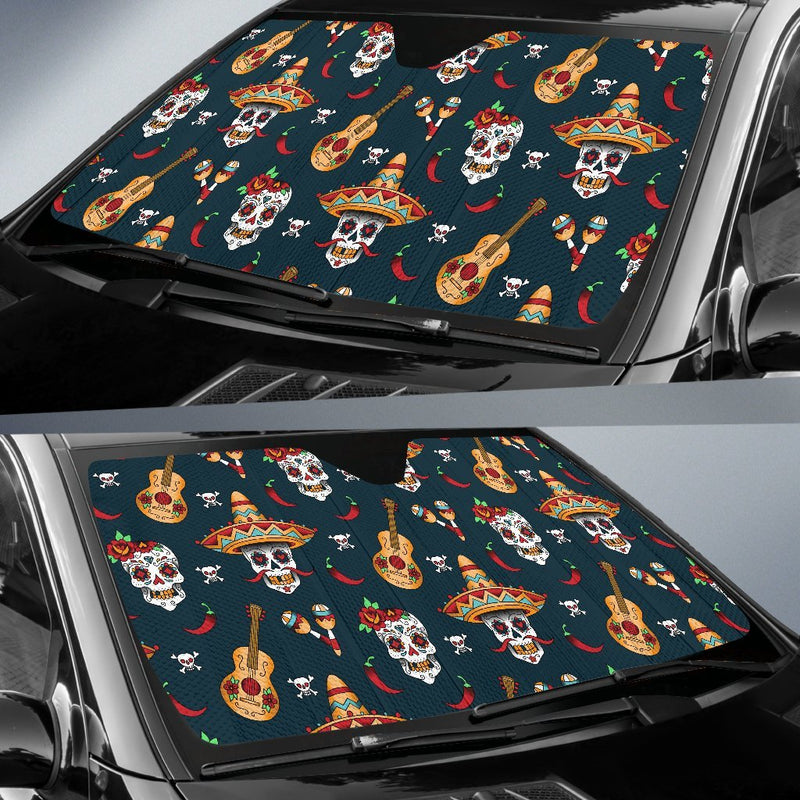 Sugar Skull Mexican Car Sun Shade-JorJune