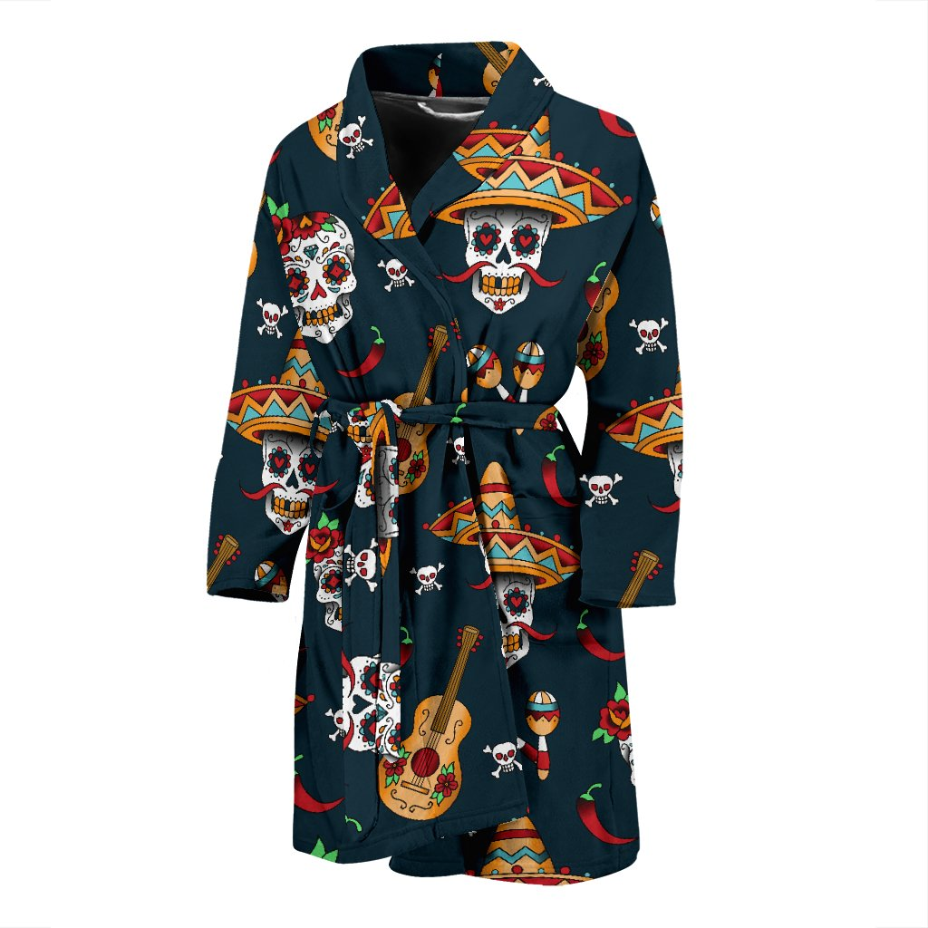 Sugar Skull Mexican Men Bath Robe