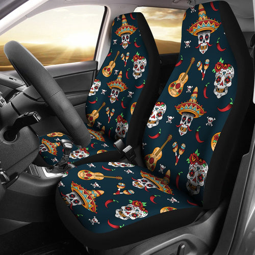 Sugar Skull Mexican Universal Fit Car Seat Covers